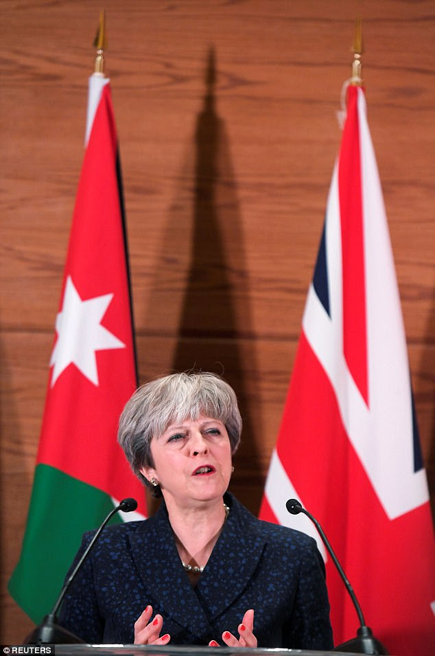 Mrs May was delivering a speech during a visit to Jordan today