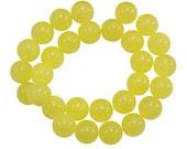 8mm Sunshine Yellow Round Jade Beads, full strand