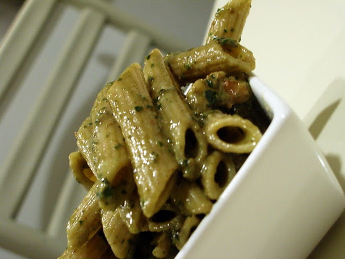 Wheat Pasta with Pesto and Toasted Walnuts