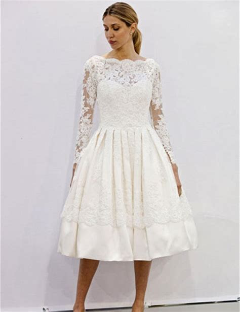 Long Sleeve Ivory Lace Tea Length Illusion Ball Gown