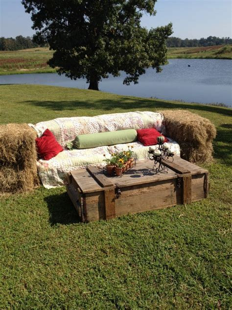 Hay bale sofa and coffee table. You can use fabric and
