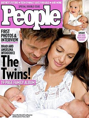 First Photo: Meet Vivienne & Knox Jolie-Pitt  Angelina Jolie, Brad Pitt