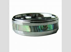 Tungsten Carbide Mens Ring Wedding Band Color Abalone Shell Inlay Size 8/9/10/11 Gold Jewelry