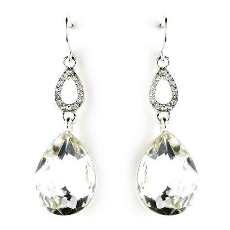 Silver Clear Crystal Drop Earrings 25285