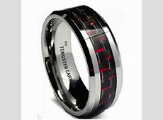 Red Carbon Inlay Mens Tungsten Carbide Wedding Engagement Band Ring