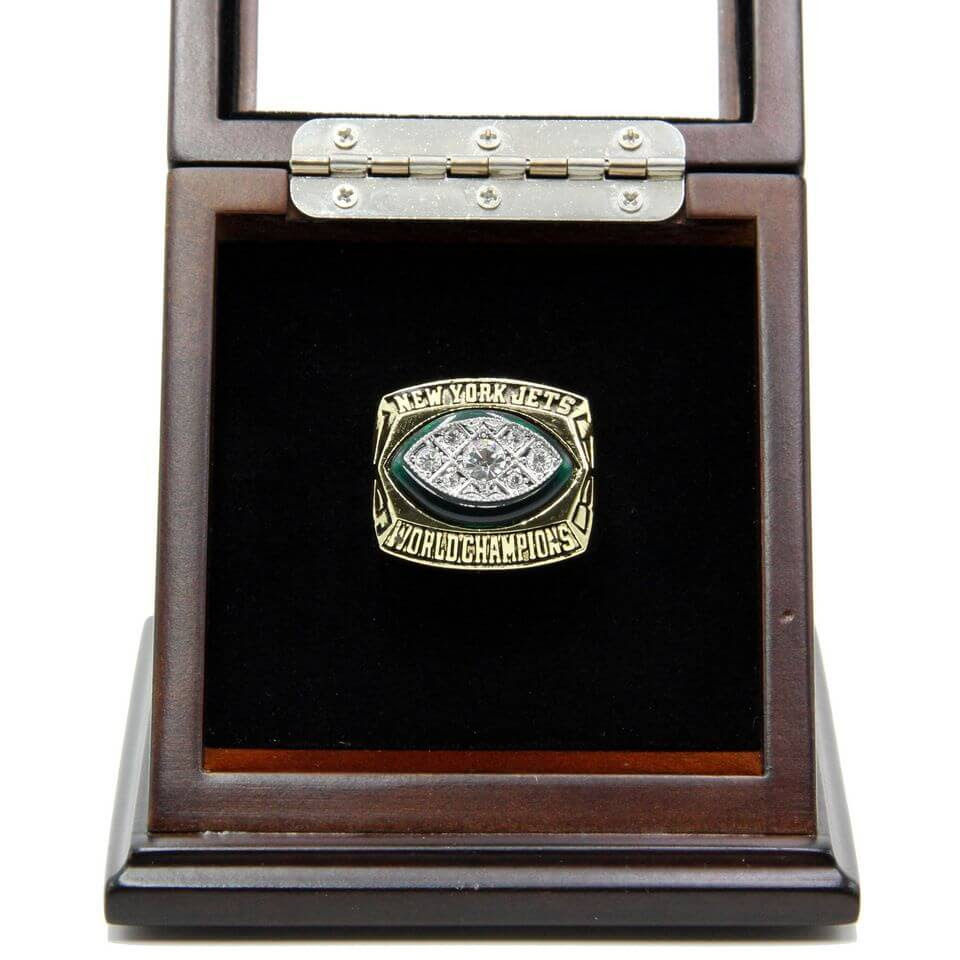 NFL 1968 Super Bowl III New York Jets Championship Replica Ring With Plaque