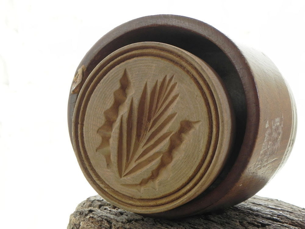 vintage wooden butter mold press