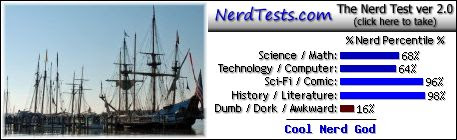 NerdTests.com says I'm a Cool Nerd God.  What are you?  Click here!