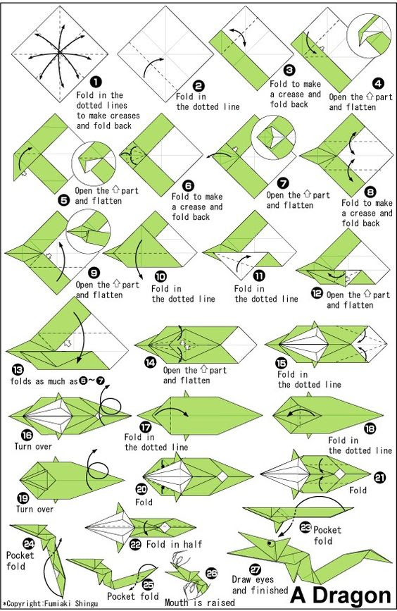 Printable Origami Instructions For Dragon | Origami | Pinterest ...