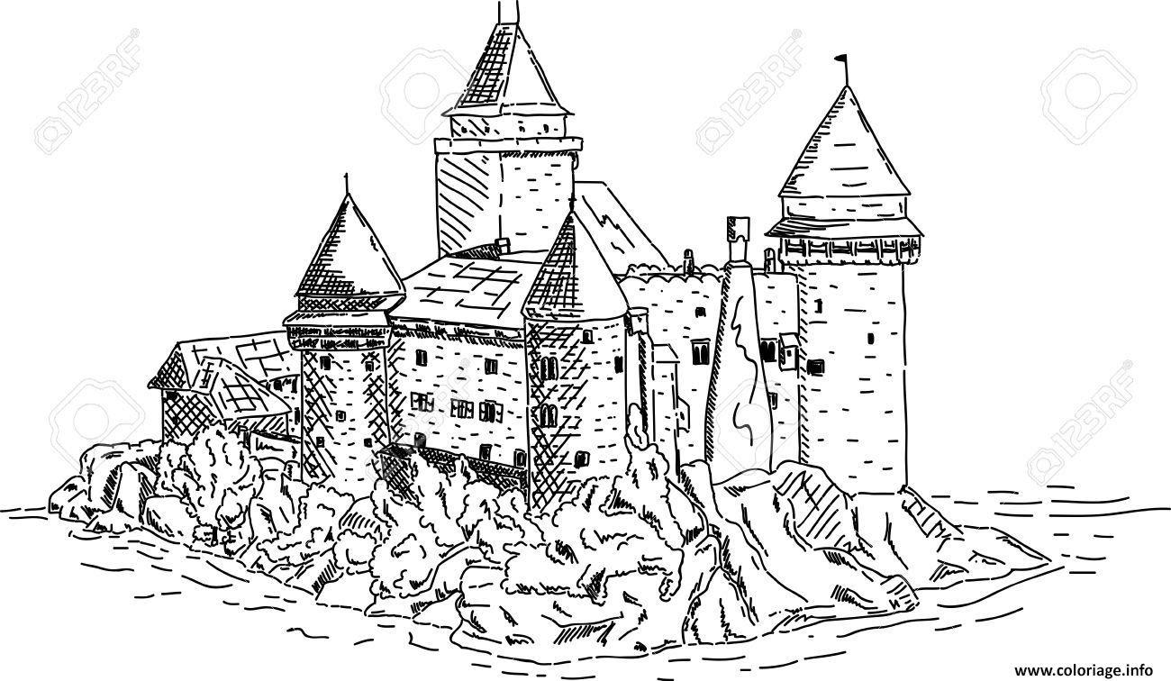 Coloriage Chateau Fort Du Moyen Age Pres De La Mer Dessin  Imprimer