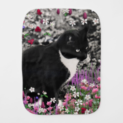 Freckles in Flowers II, Black and White Tuxedo Cat Baby Burp Cloth