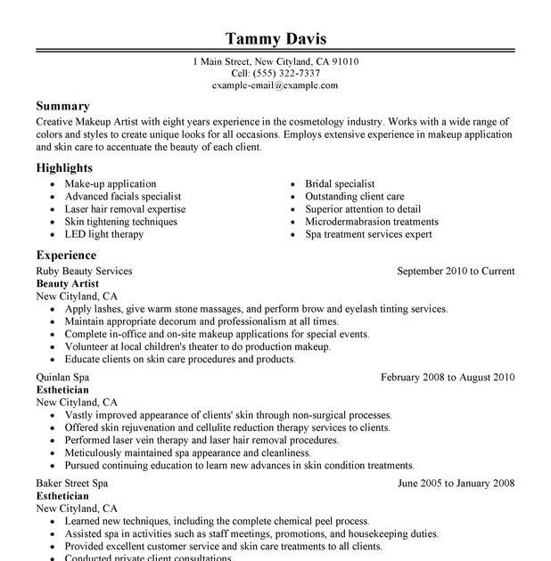 Resume Beauty Industry | Latter