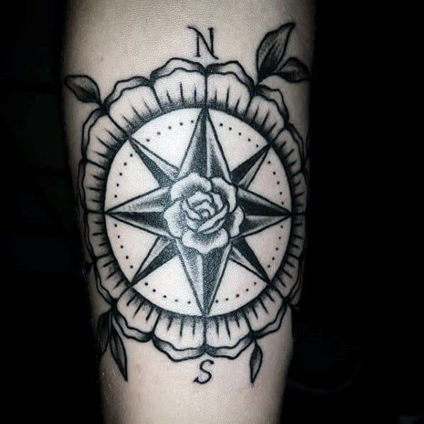 40 Traditional Compass Tattoo Designs For Men Old School Ideas