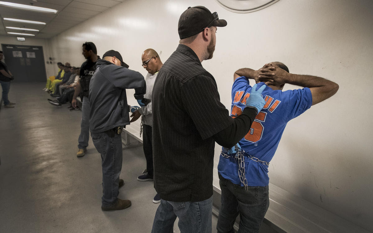 ICE agents search Esteban Amigon, center left, and Sergio Rodriguez, right, as the men are processed at the ICE downtown staging facility in Los Angeles.