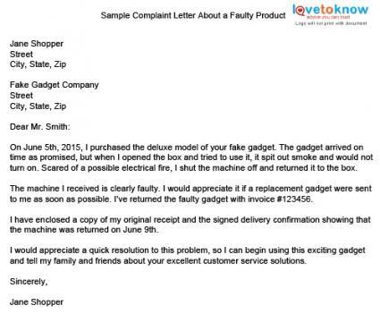 67 Letter Complaint Broken Product Broken Product Complaint Letter