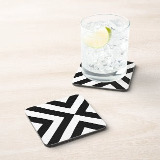 Black and White Chevrons Drink Coasters