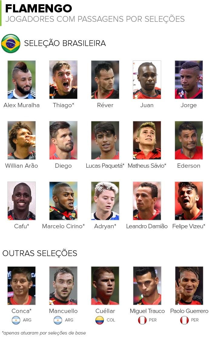 Info JOGADORES DO Flamengo com passagens por selecoes 2 (Foto: infoesporte)