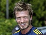 David Beckham talks to reporters after his first practice since returning to the Los Angeles Galaxy MLS soccer team, at the Galaxy's practice facility at Home Depot Center in Carson, Calif., Wednesday, Aug. 11, 2010.