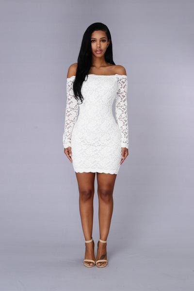 Nova off bodycon fashion lace shoulder dress lulu