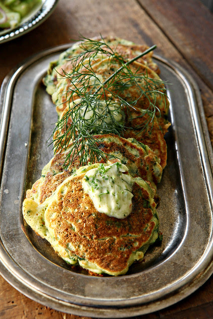 Green pancakes with lime butter (Ottolenghi)