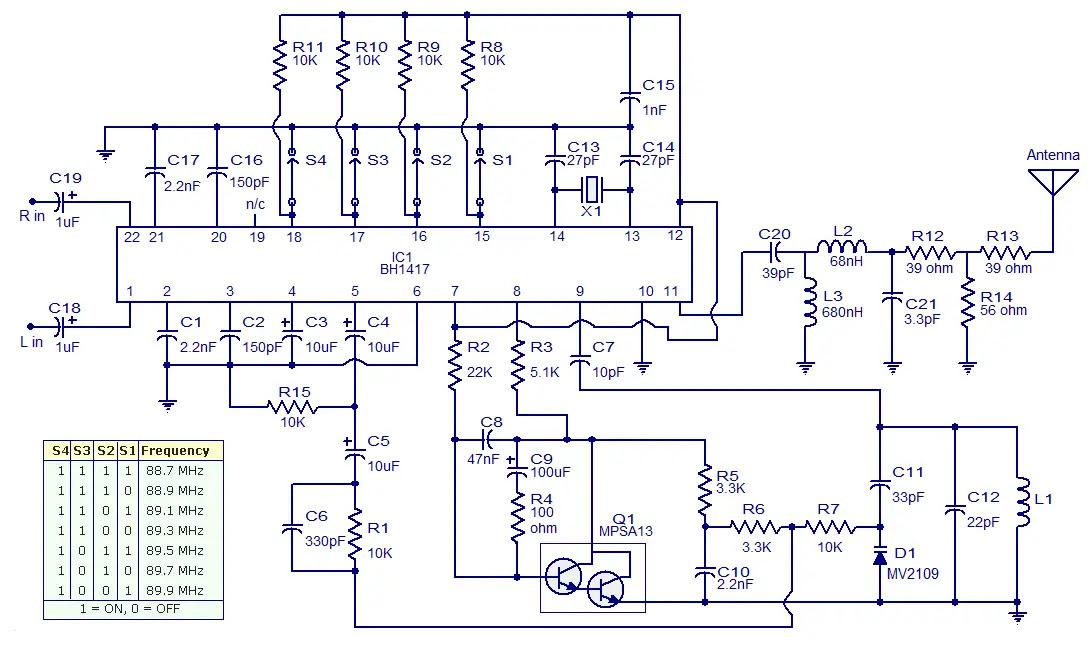 BH1417 FM transmitter circuit