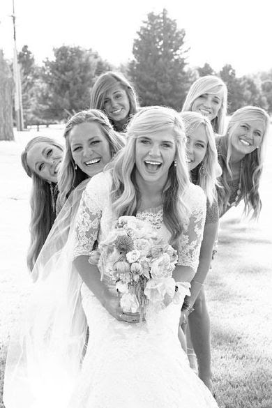 30 Fun Bridal Party Photos — Loverly pinning this because i love her sleeves!