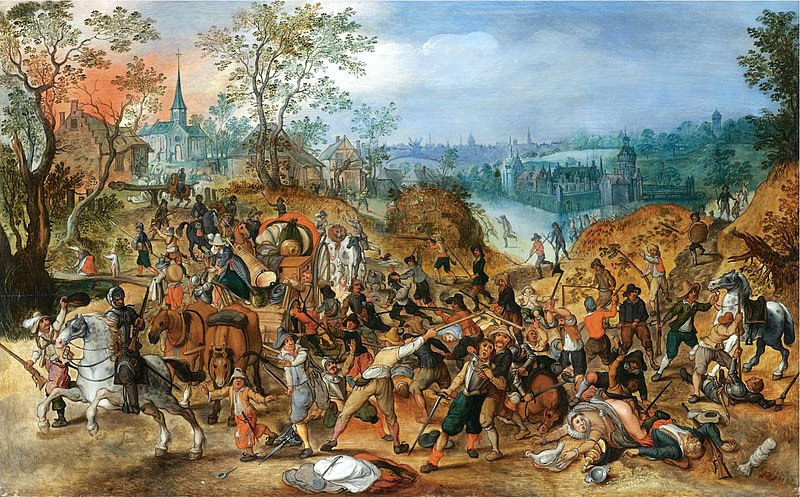 File:Sebastiaan Vrancx (studio) - A landscape with travellers ambushed outside a small town.jpg