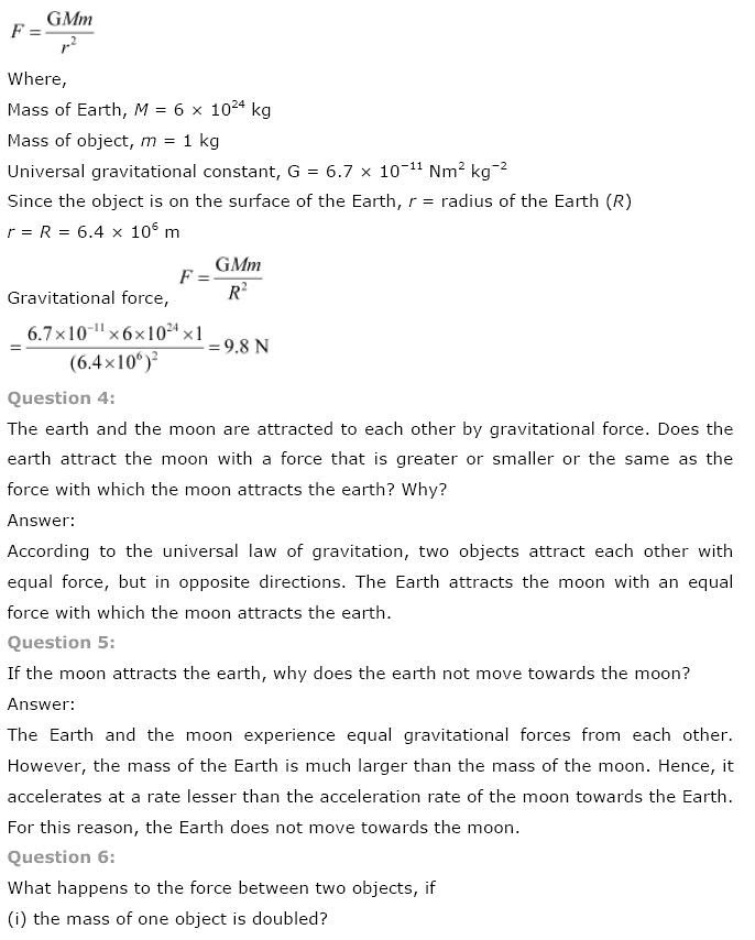NCERT Solutions for Class 9th Science Chapter 10 Gravitation
