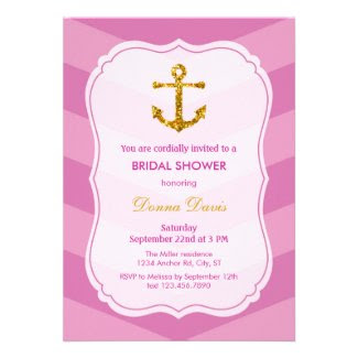 Glitter Anchor Nautical Bridal Shower Invitation