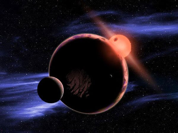 An artist's concept of a planetary system orbiting a red dwarf star.