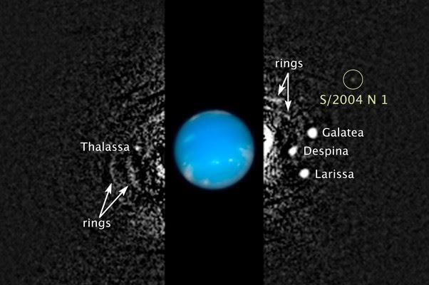 Imagem mostra a localização da nova lua. No centro, o planeta Netuno (Foto: NASA/ESA/M. Showalter (SETI Institute))