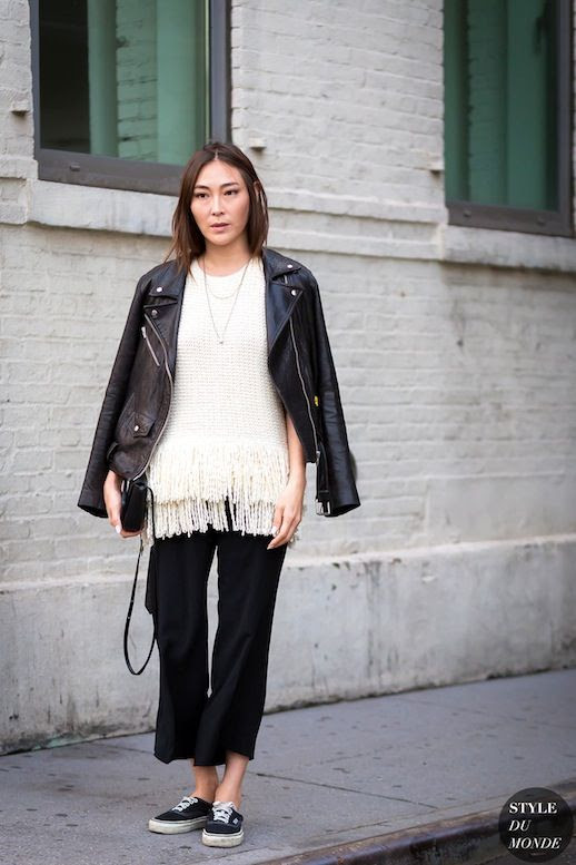Le Fashion Blog Nyfw Street Style Blogger Leather Jacket White Fringed Sweater Black Cropped Flare Pants Vans Sneakers Via Style Du Monde