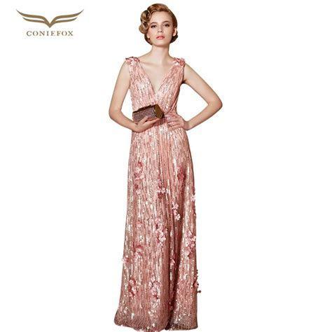 Coniefox 30856 vestidos de noche Plus Size Sequined