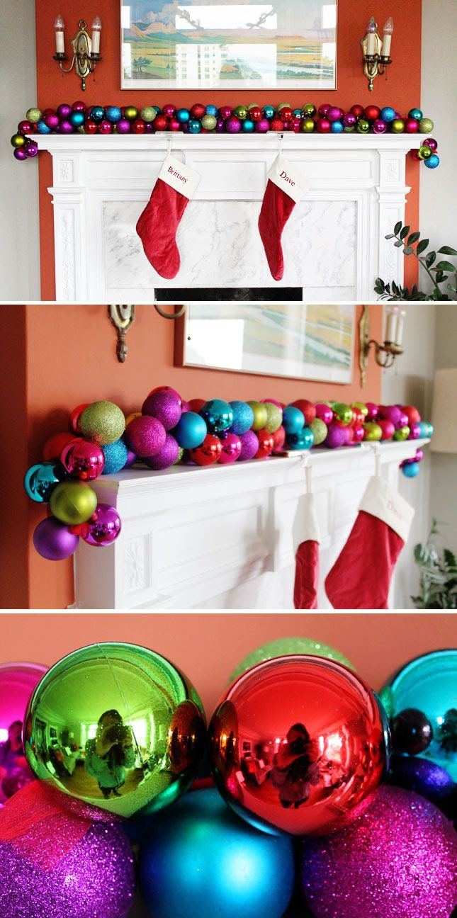 Make a DIY Ornament Garland in 10 Minutes or Less.  I would think you would have to clue the ends to keep them from coming off?