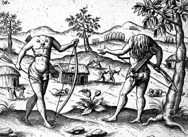 Ilustración mostrando a los Blemmyae, edición alemana de 'La Descripción de la Guayana' de Sir Walter Raleigh.