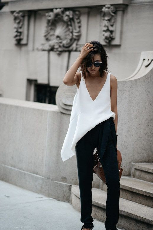 Le Fashion Blog Blogger Style Black Harem Pants Assymetrical White Top Pointed Shoes Via Z Hours