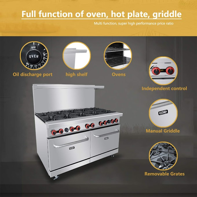 Commercial Kitchen Gas Burner Range With 2 Ovens