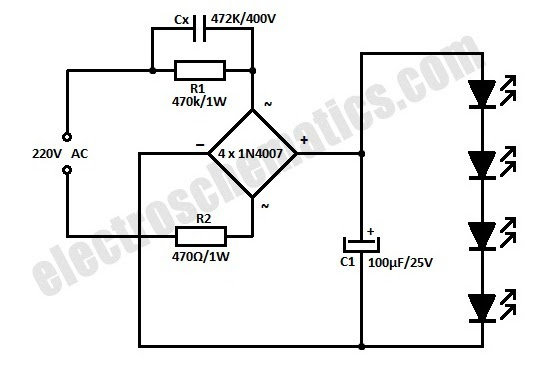 led light circuit diagram 230v
