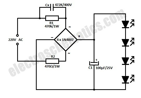 hobby electronics circuits  ac powered 220v led circuit