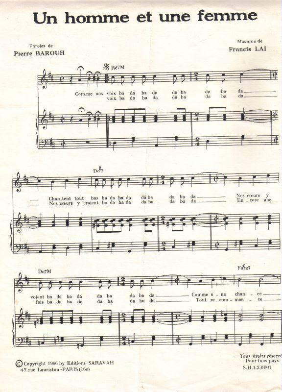 Partition Piano Un Homme Et Une Femme