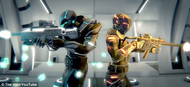 Players walk around the company's warehouse facility in Utah, but in the game (pictured) they appear wearing futuristic battle suits