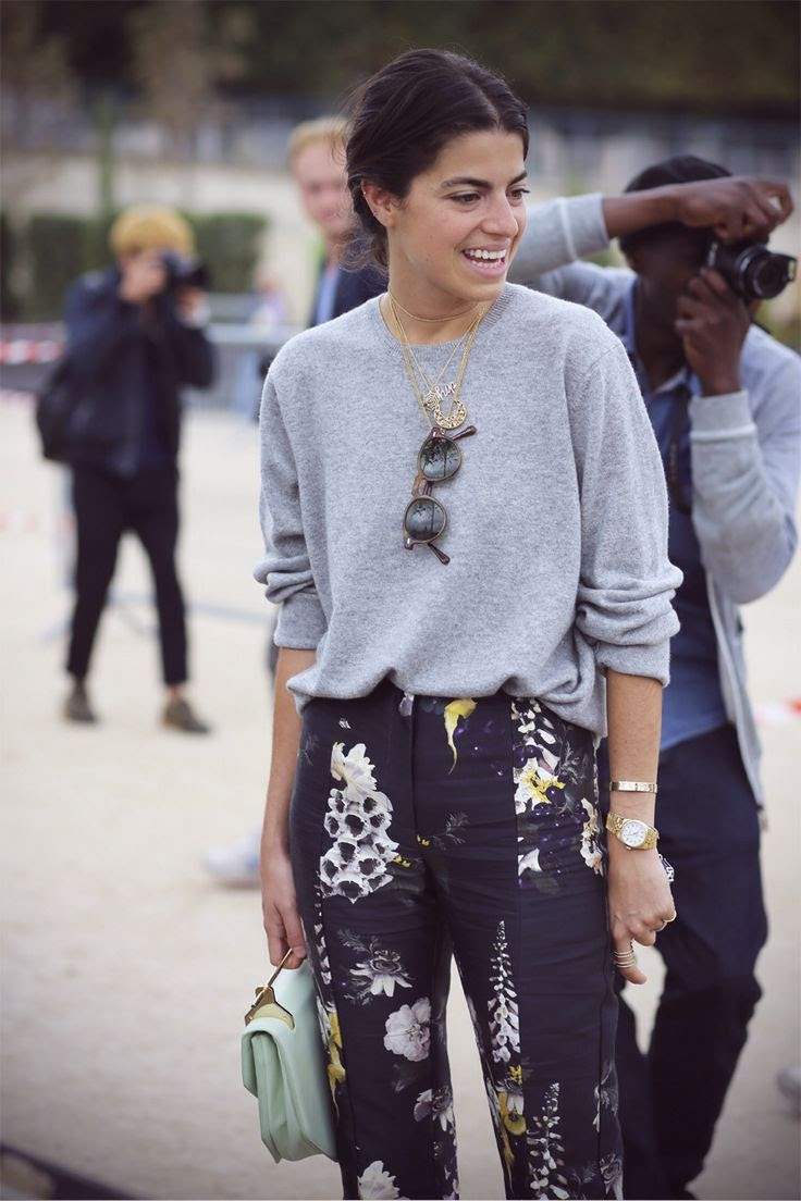 Printed pants + grey sweater.