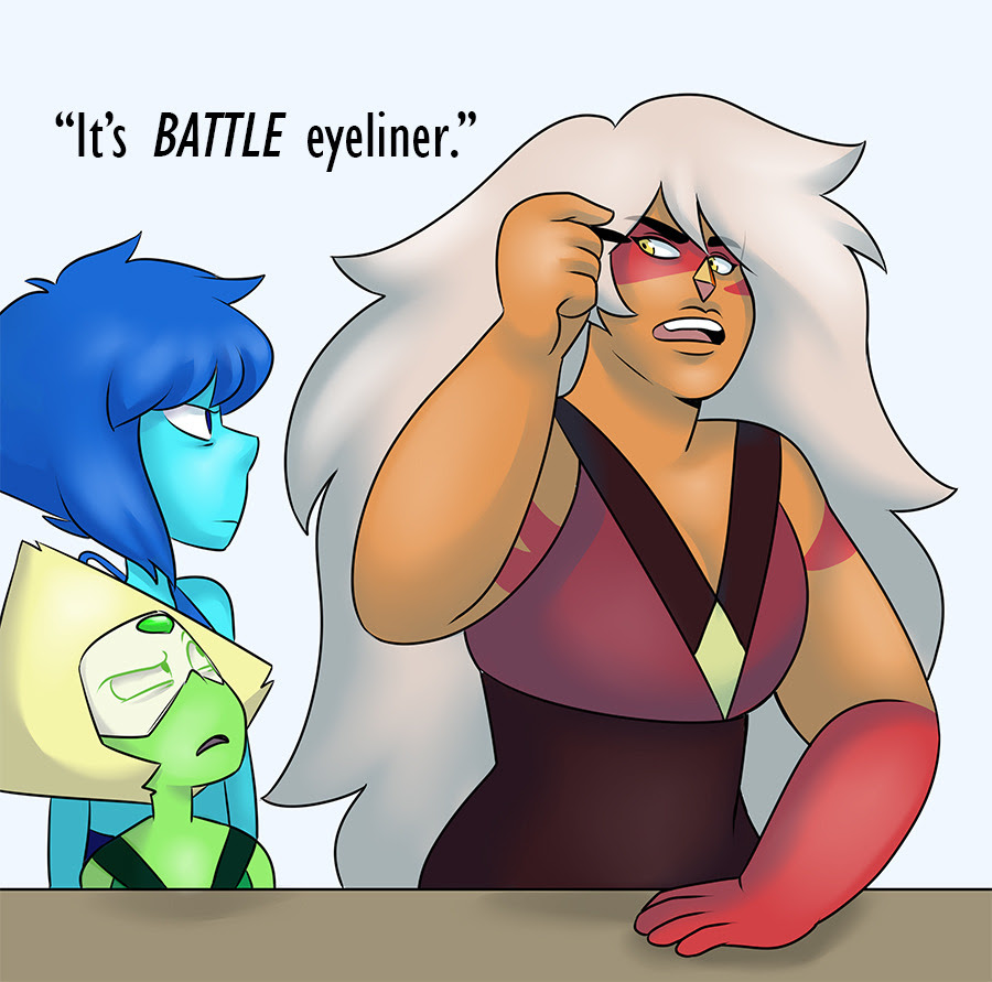 I think Lapis and Peridot are probably smaller next to Jasper than they actually look here but I couldn't be assed to check screenshots. Super lame but I've been slowly clawing my way out of a bad art...