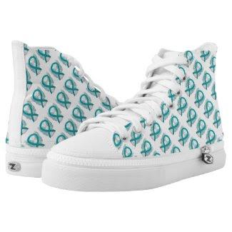 Teal Green Awareness Ribbon Angel Custom High Tops Printed Shoes