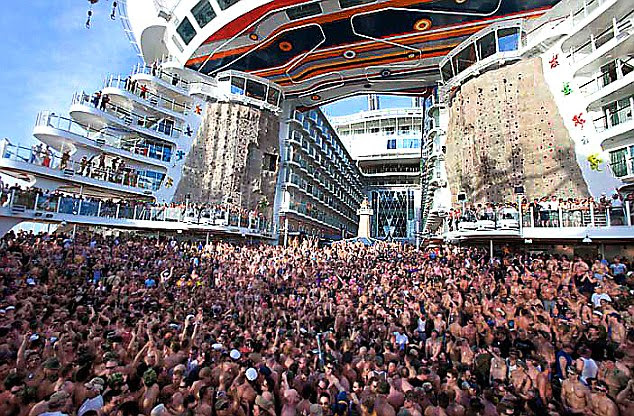 'Hedonistic': Allure of the Seas was used to host a massive party with 4,500 passengers on board as the ship sailed from Florida to an island south of Cancun on a gay and lesbian-themed seven-day cruise