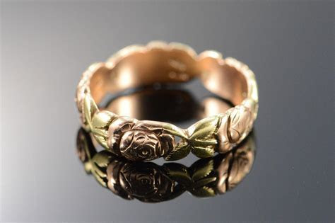 14K Antique Jabel Rose Infinity Wedding Band Ring   Size 7