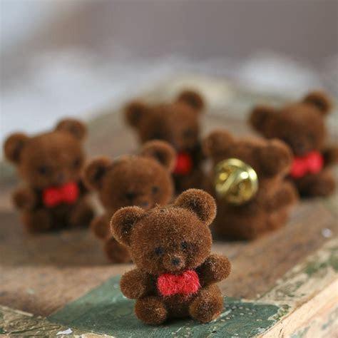 Miniature Brown Flocked Teddy Bear Pins   Muslin Dolls and