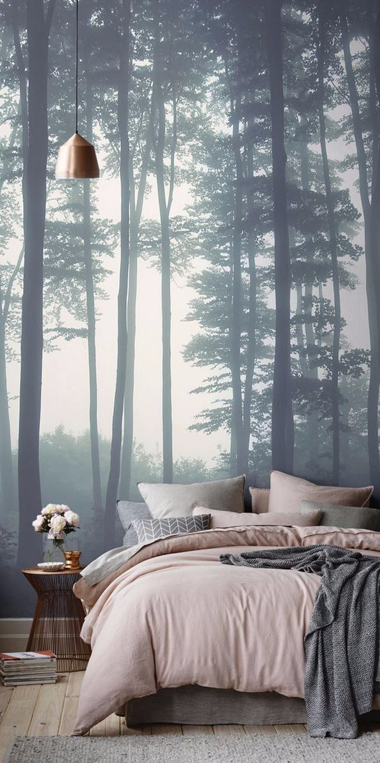 Whimsical Master Bedrooms with Forest Wallpaper - Master ...