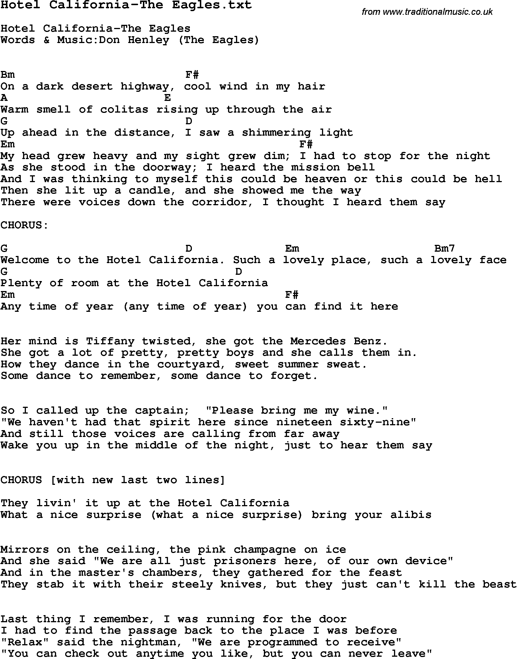 Lyrics Center Lyrics Hotel California