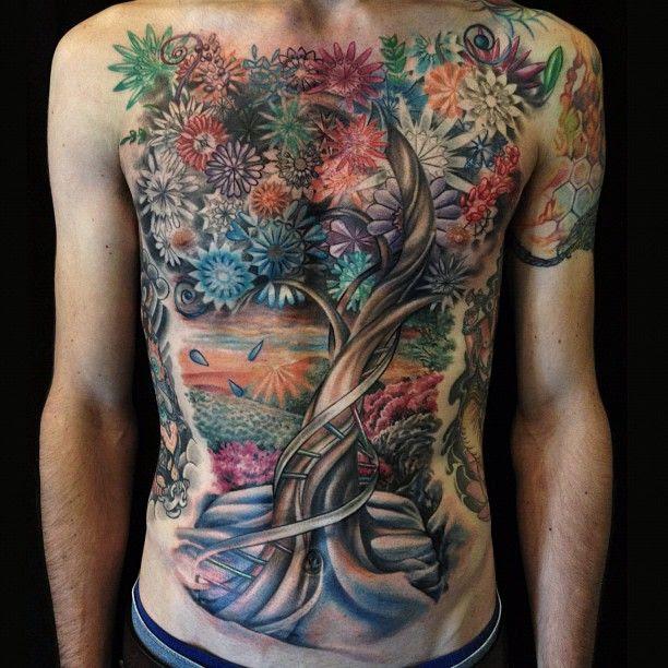 Stunning Tree And Flowers Tattoo By David Allen Tattoomagz